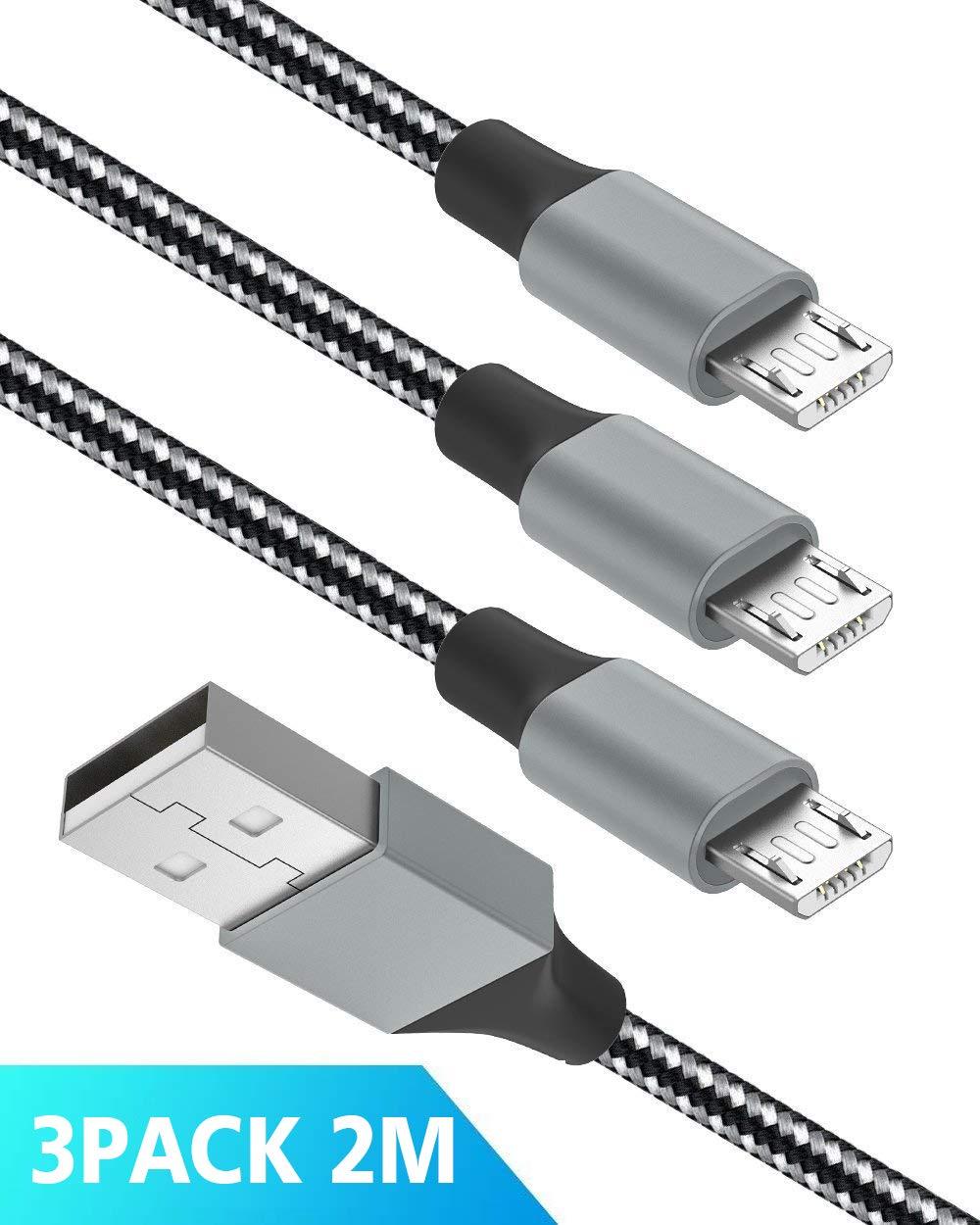 Quntis Cable Micro USB 3 Pack 2m Cable para Cargar Android Durable Nylon Trenzado para Samsung Galaxy S7 S6 EDG S4 S3 S2 Note 5 4 2 HTC Motorola Nexus ...