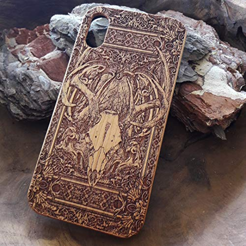 iPhone X/XS Case Deer Skull Real Genuine Wood Phone Case, Laser Engraved Slim Fit Wooden Shell & Soft TPU Plastic Full Protective Anti-Scratch -