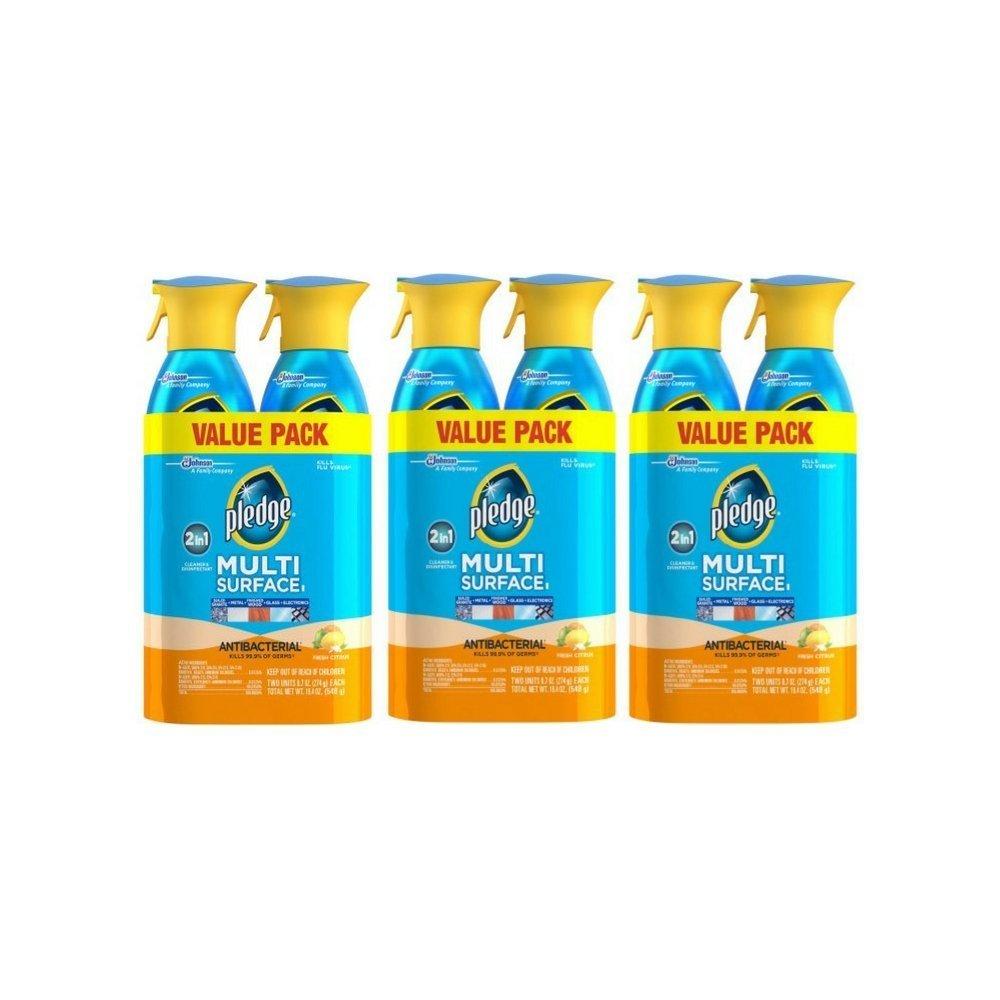 Pledge Multi Surface Antibacterial Everyday Cleaner Spray, 9.7 oz, 6 pk