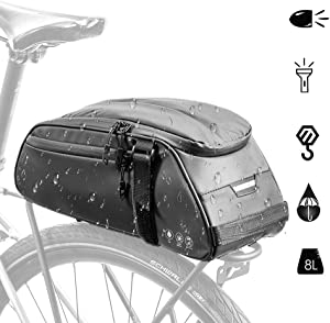 AUTOWT Bike Reflective Rack Bag, Water Resistant Bicycle Rear Seat Pannier Cargo Trunk Storage Cycling Carrier Chest Bag with 8L Capacity Multi Pocket Taillight Loop for Commuter Outdoor Traveling