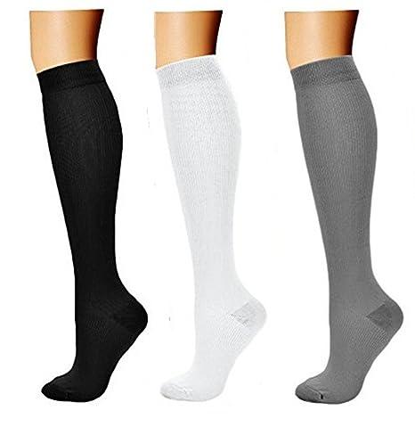 Medias de Compresión 3 Par Calcetines de Compresión para Hombres y Mujeres│Varices│Running