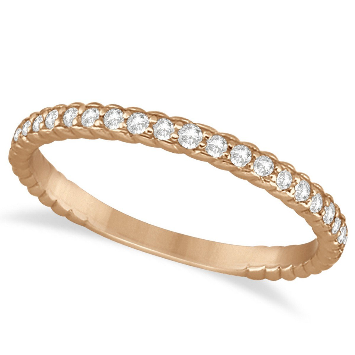 (0.21ct) 14k Rose Gold Diamond Rope Style Semi Eternity Wedding Band