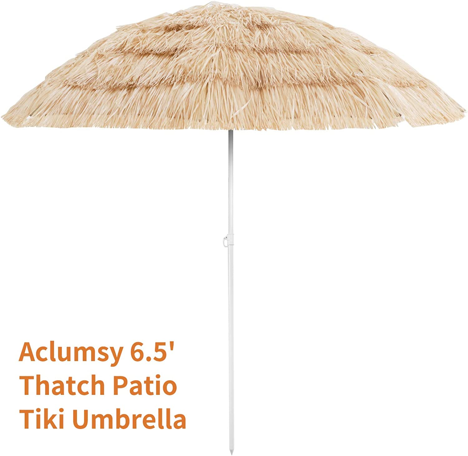 Aoxun 6.5 Thatch Patio Tiki Umbrella – Tropical Palapa Raffia Tiki Hut Hawaiian Hula Beach Umbrella NO Base