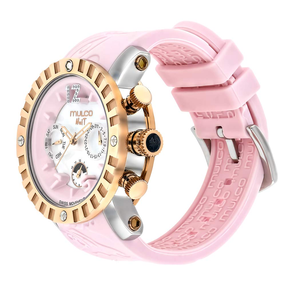 Mulco Ladies Nuit Lace XL Swiss Quartz Multifunctional Movement Women s Watch, 42mm Case with Mother of Pearl and Rose Gold Accents, Silicone Band