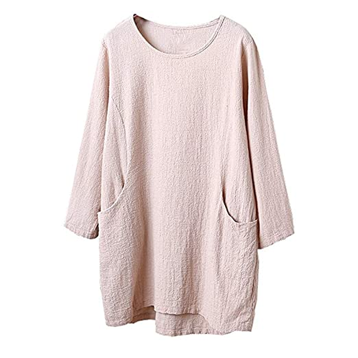 Sunhusing Womens Cotton Linen 4/5 Sleeve Solid Color Tunic Top Long Pullover T-