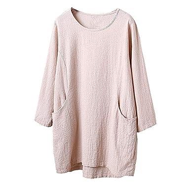 2018 Heligen Frauen lässig Bettwäsche aus Baumwolle 4 5 Ärmel O-Ausschnitt  Solide Tunika Asymmetrisch Jumper Top Bluse mit Tasche  Amazon.de   Bekleidung 0d3a74433c