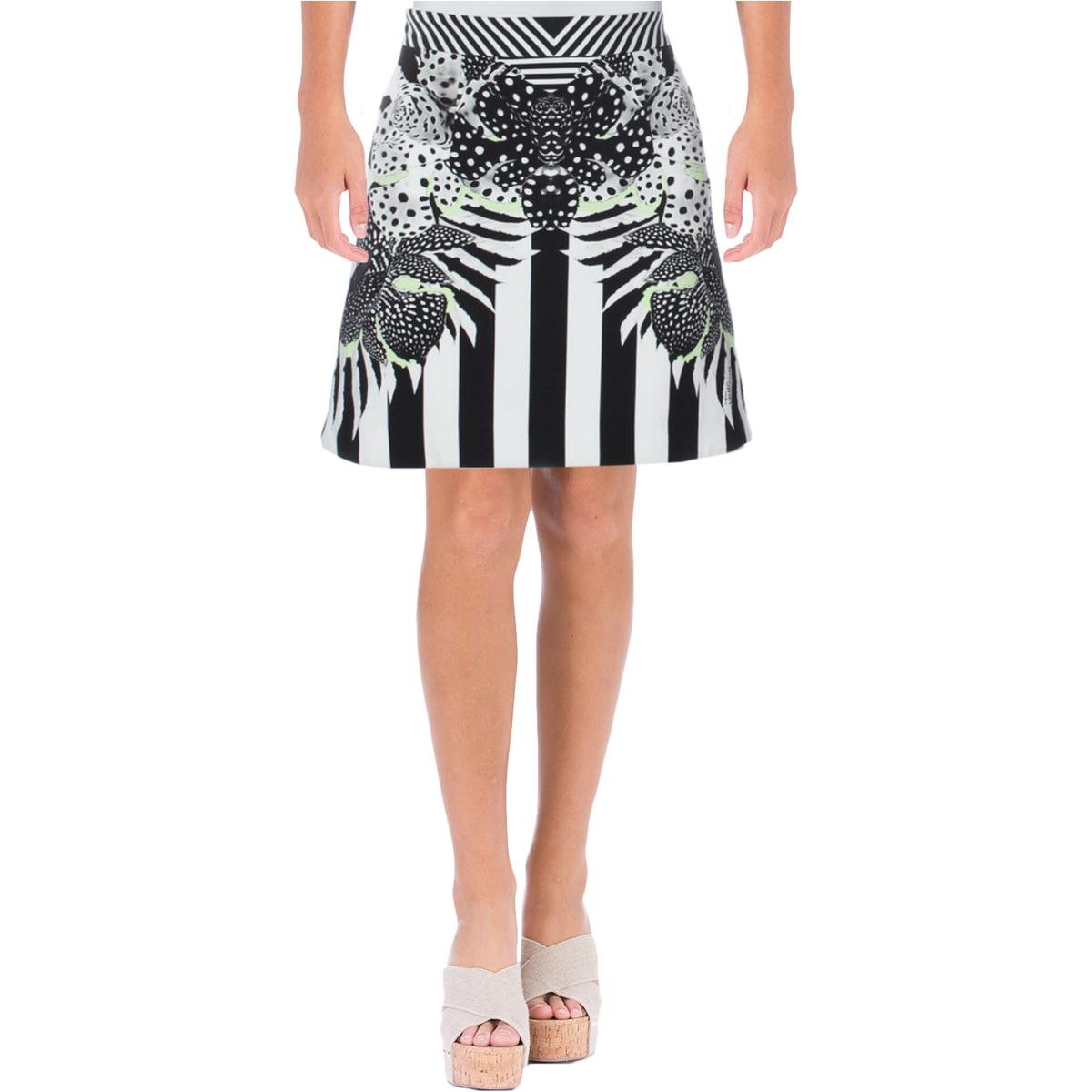 Just Cavalli Womens Crepe Printed A-Line Skirt B/W 36