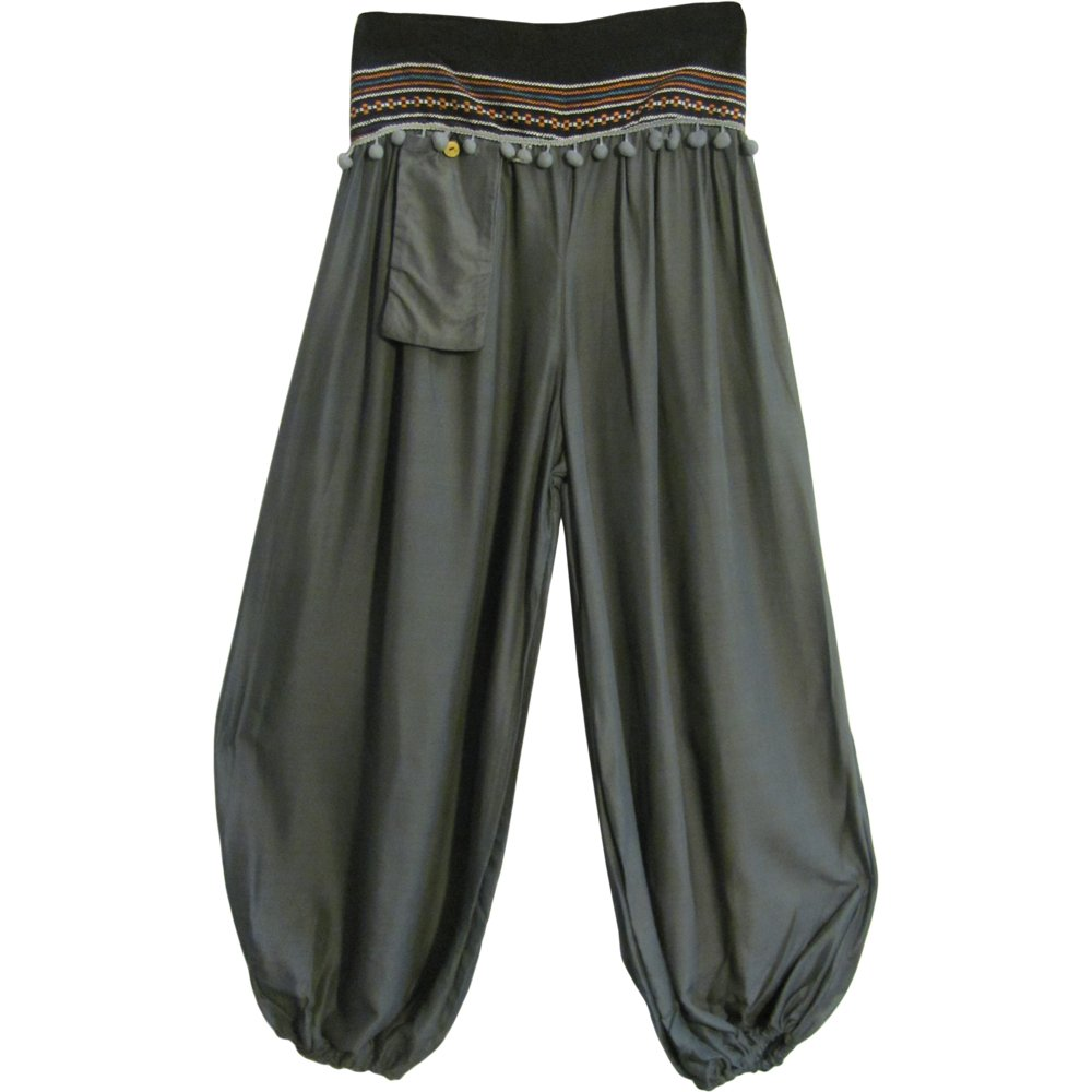 Lady Pirate Bohemian Gypsy Gray Harem Pants - DeluxeAdultCostumes.com