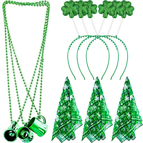 Zhanmai St. Patrick's Day 9 Pieces Green Shamrock Head Boppers Hats Clover Square Towel and Traveling Shot Glasses -
