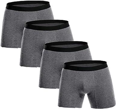 Calzoncillos Boxer para Hombre 4 Piezas Boxers Largos Algodón ...