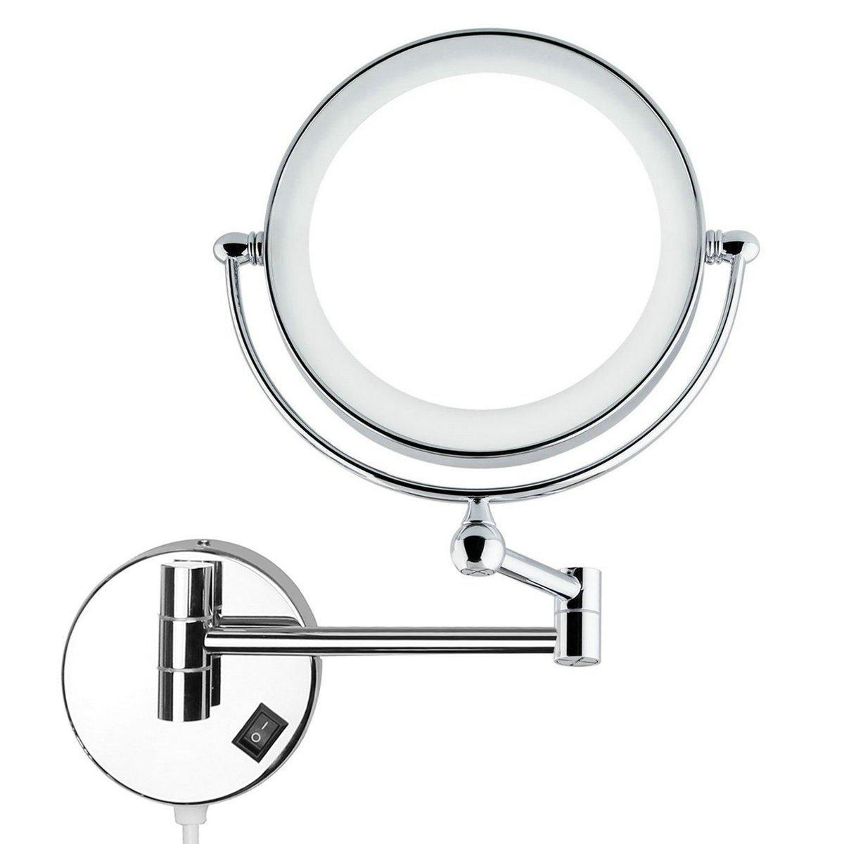 Auxmir Kosmetikspiegel mit LED Beleuchtung und 1-/ 5-facher Vergrößerung aus Kristallglas, Edelstahl und Messing, Doppelseitig, Rostfrei, Schminkspiegel Beleuchtet für Badezimmer, Kosmetikstudio, Spa und Hotel