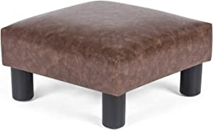 Joveco Ottoman Footrest Stool Small PU Leather Square Footstool (Brown #1)