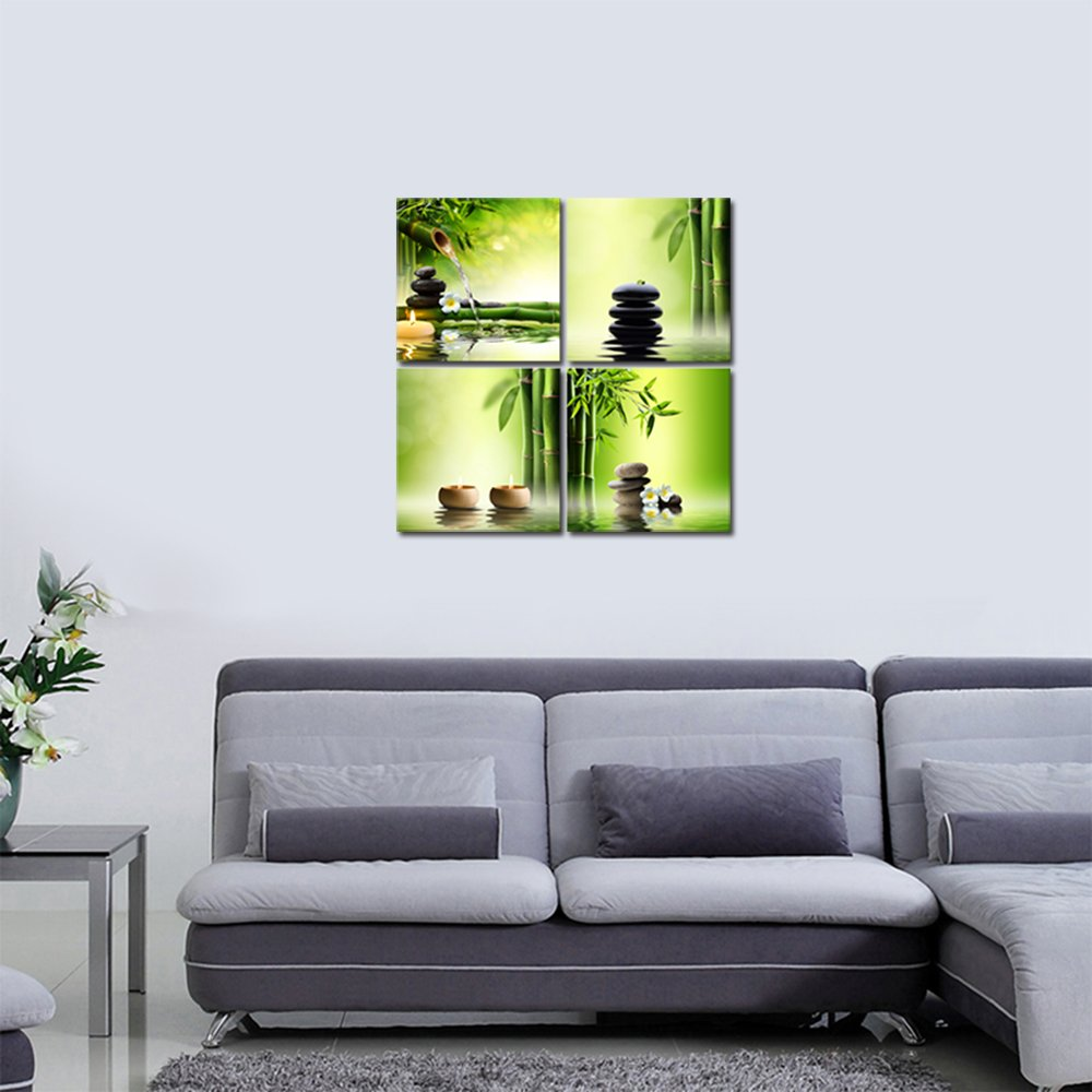 Pyradecor Modern 4 Panel Stretched and Framed Contemporary Zen Giclee Canvas Prints Perfect Bamboo Green Pictures on Canvas Wall Art for Home Office Decorations Living Room Bedroom by Pyradecor