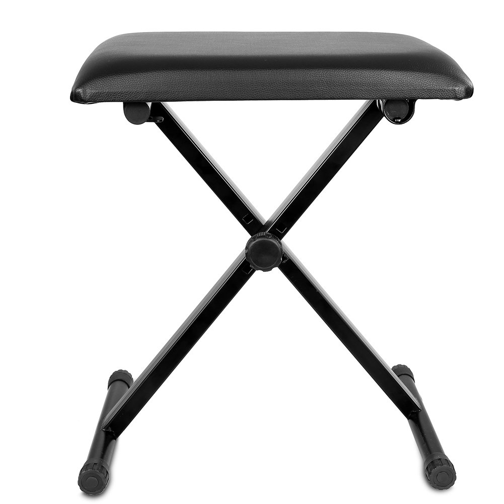 Neewer® 3-Position Height Adjustment(16.5/17.5/19.5, 42cm/45cm/50cm) Black Folding Super-stable and Durable Padded Keyboard Bench with X-style Iron Legs
