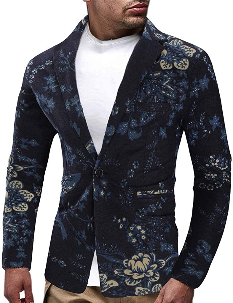 Mens Blazer Big and Tall Slim Fit Casual Floral Printed Sport Coats Lightweight One Button Suit Jacket Coats Lapel Suit
