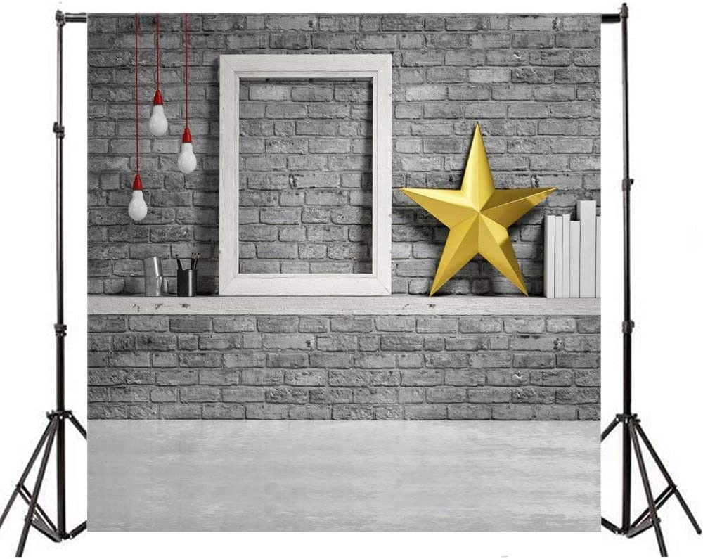 10x10ft Polyester Photography Background Mock up Frame Brick Wall Golden Christmas Star Bulb Lamp Light Grey Brick Texture Grunge Background Smooth Concrete Floor Art Interior Holiday