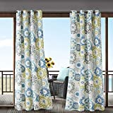 1 Piece Blue Medallion Gazebo Curtain Panel 84 Inch, Gold Floral Print Outdoor Curtain Light Blocking For Patio Porch, Water Resistant Indoor/outdoor Drape Pergola Garden Sunroom Grommet, Polyester