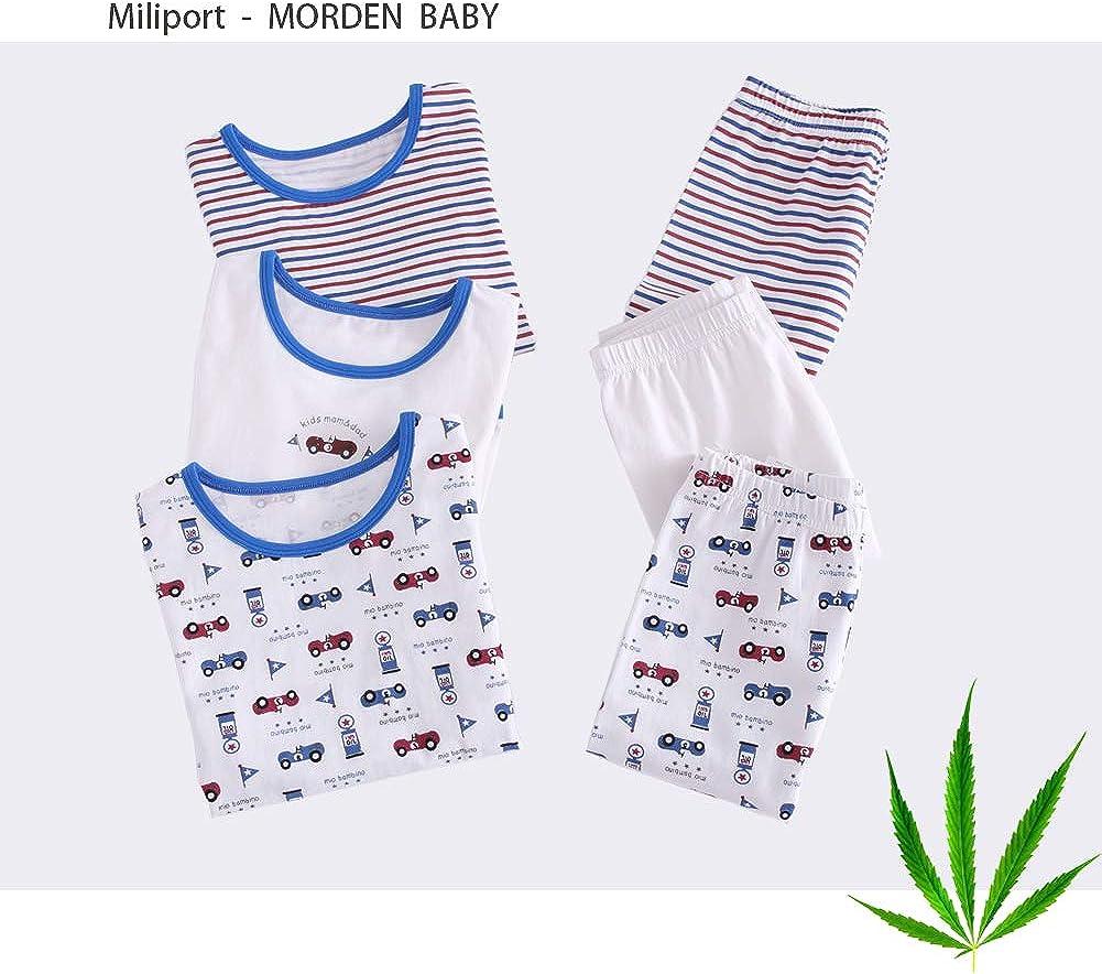 Miliport Kid Pajama Set Boys Girls Organic Cotton Long Sleeve Sleepwear for Toddler 2 Piece Shirt and Pant 1-6T Warm Spring Autumn Winter Cartoon Car Print Car, 100