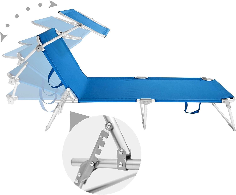 TecTake 800143 Sedia Sdraio da Esterno con Tetto Pieghevole in Alluminio Blu | No. 401429 Disponibile in Diversi Colori