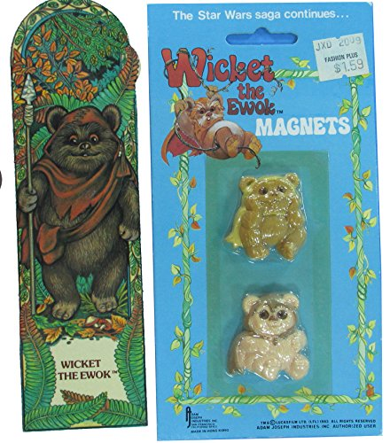 Wicket-the-Ewok-Magnets-and-Bookmark-Star-Wars-1983-Vintage