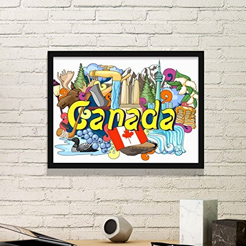 DIYthinker Rocky Mountains CN Tower Maple Canada Graffiti Simple Picture Frame Art Prints Paintings Home Wall Decal Gift
