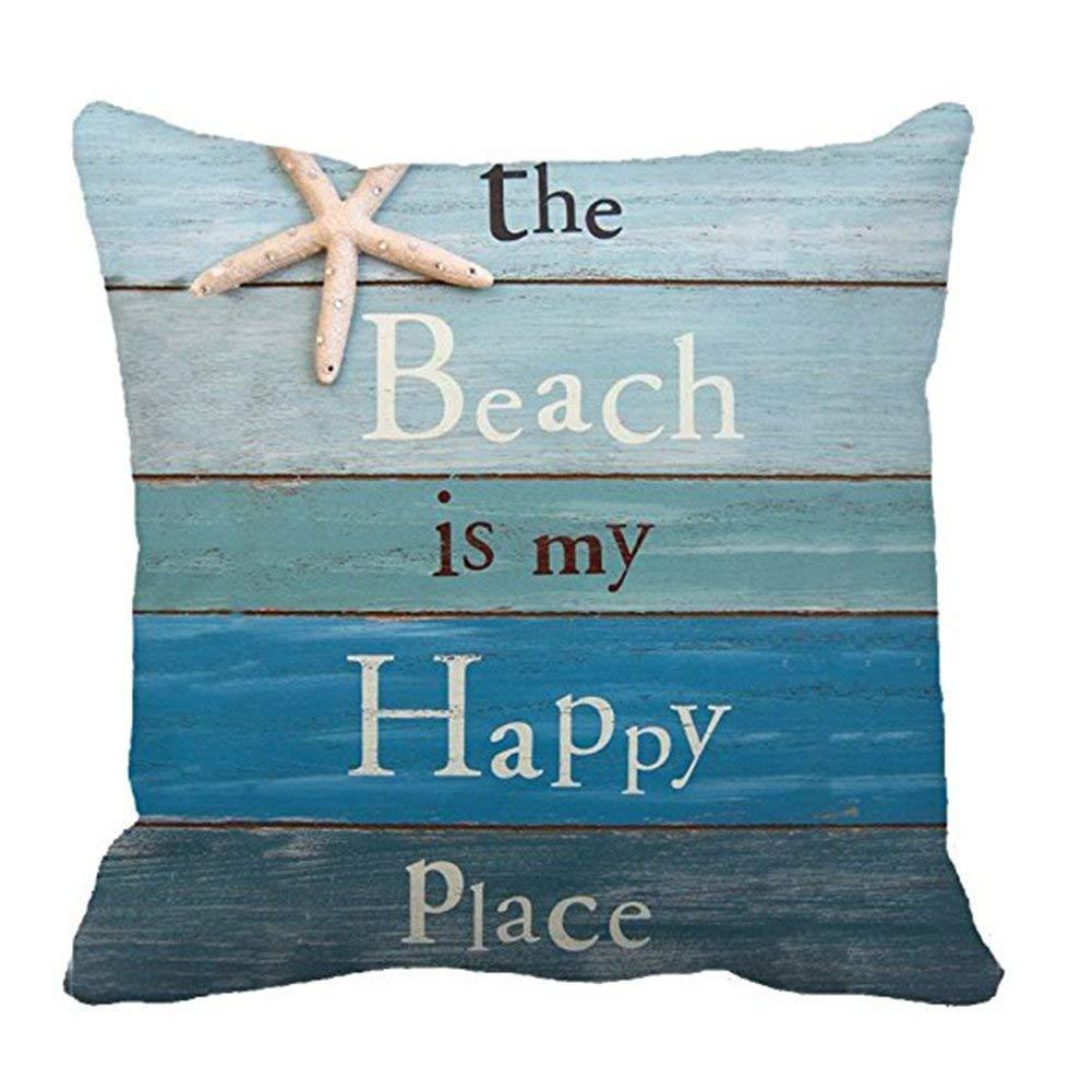 Set of 4 Pillow Covers 18 x 18 Inch Summer Beach Decoration Throw Funda de almohadaCotton Linen Quote Cushion Cover Sofa Home Decor