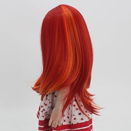 Amazon.es: Sharplace Peluca de Pelo Largo Recto Rojo Accesorios para DIY 18 Pulgadas Americanas Chicas Muñecas: Juguetes y juegos