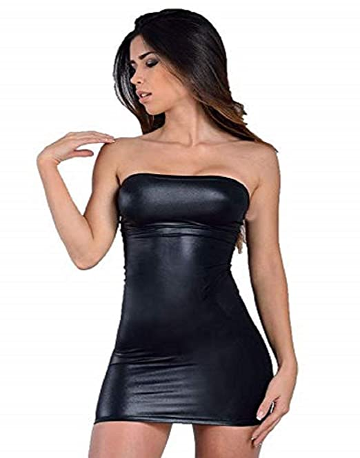 fd6dfae8e74 Mpitude Women s Spandex Lycra Faux Leather Look Liquid Strapless Mini Tube  Fitted Bodycon Nightclub Dress (Black  L)  Amazon.in  Clothing   Accessories