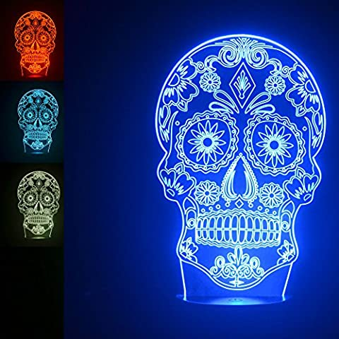 3D Skull Diamond Type Night Light 7 Color Change LED Table Desk Lamp Acrylic Flat ABS Base USB Charger Home Decoration Toy Brithday Xmas Kid Children - Diamond Style Light