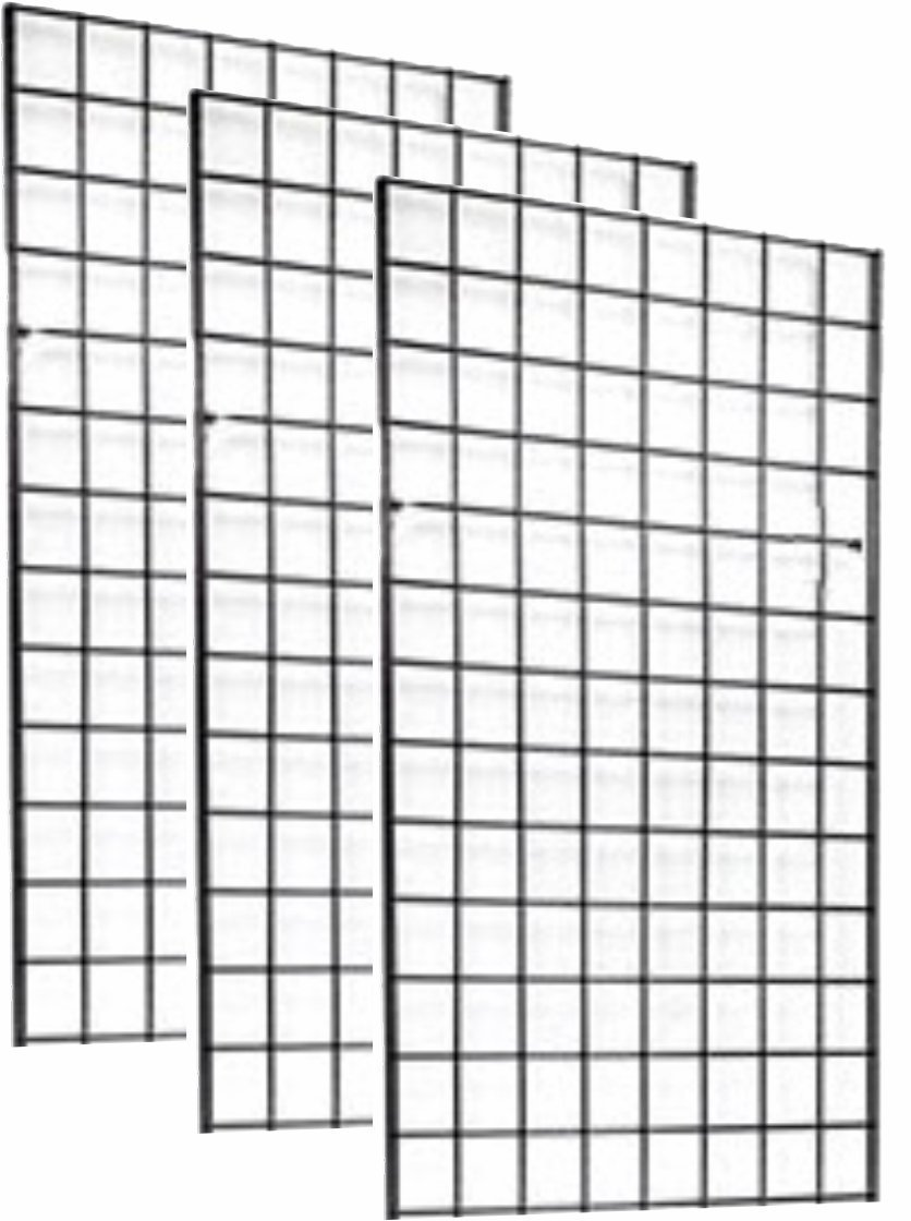 2' x 4' FOOT COMMERCIAL GRADE WIRE GRID WALL PANEL DISPLAY, 3'' ON CENTER 3-PACK, BLACK