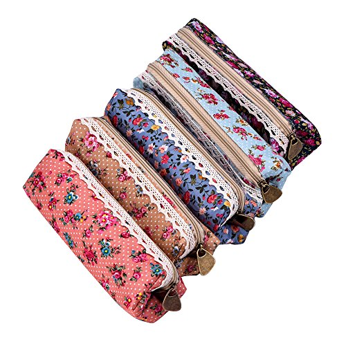 Zipper Bag Pattern (eBoot 7 Inch Flower Pattern Zipper Canvas Pen Pencil Case Stationery Pouch Bag Case Cosmetic Bags, Set of)