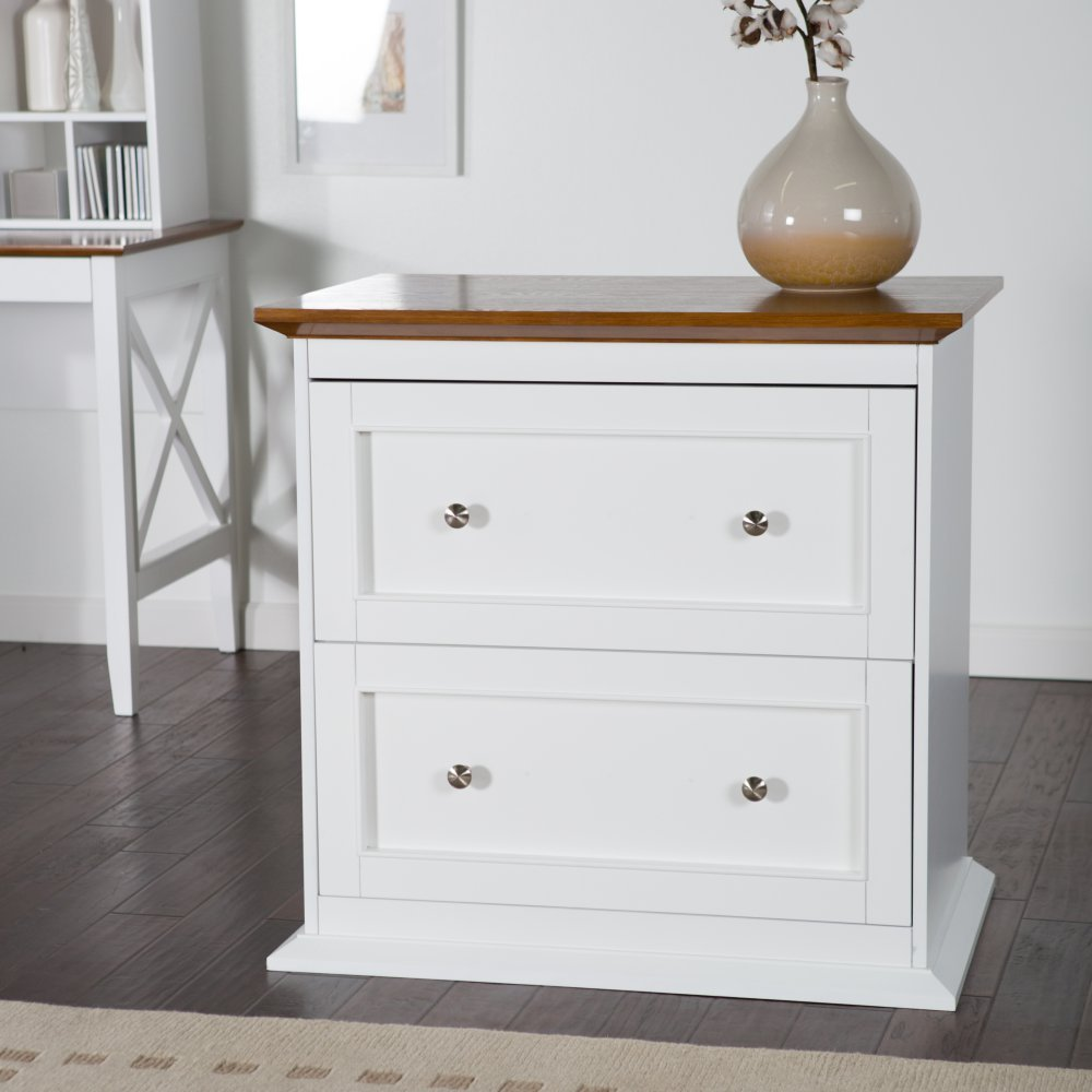 Amazon.com : Belham Living Hampton Two Drawer Lateral Filing Cabinet   White/Oak  : Office Products