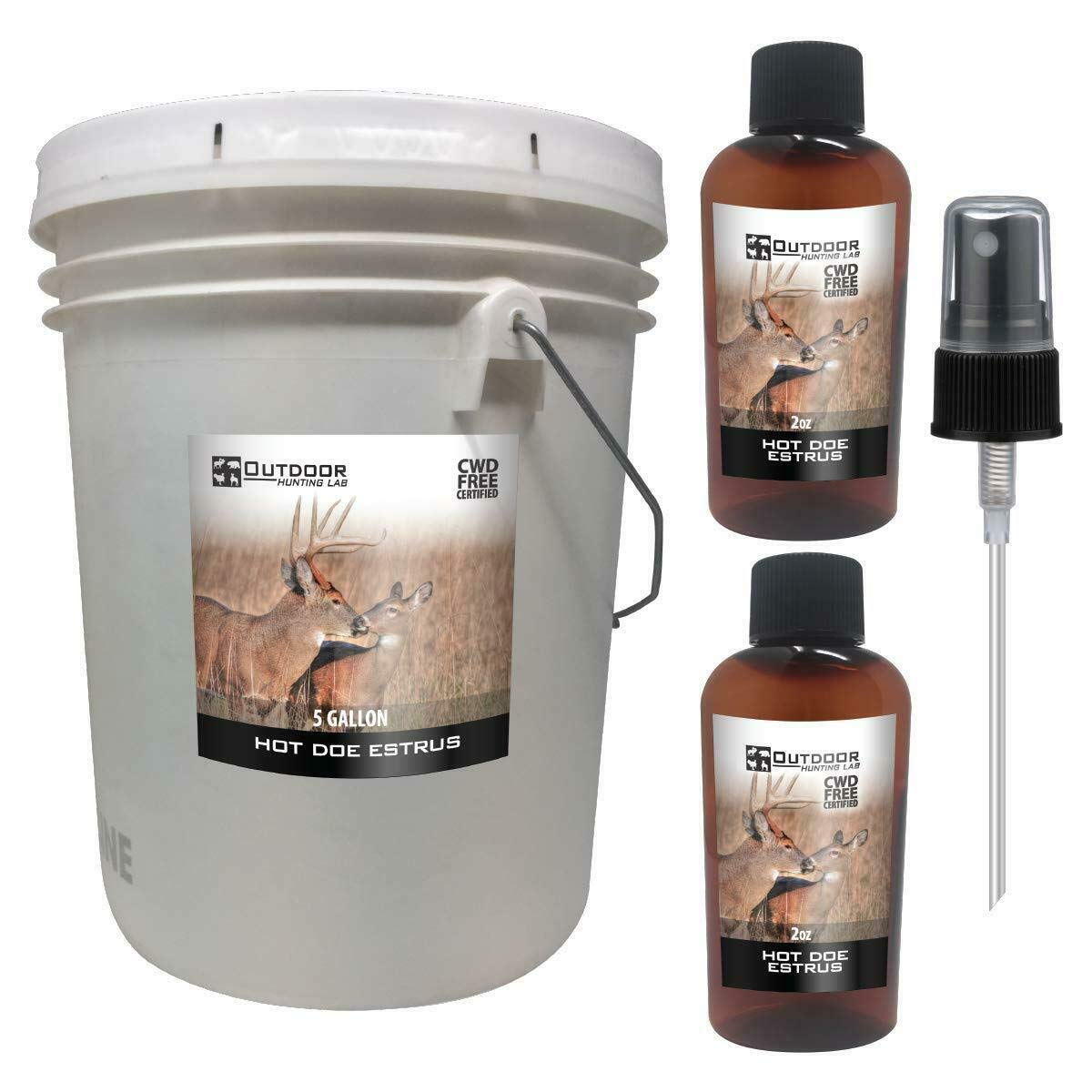 Outdoor Hunting Lab Hot Doe Estrus Buck Attractant Whitetail Lure Hunting Scent Natural Urine Deer Pee Heat (5 Gallon) by Outdoor Hunting Lab