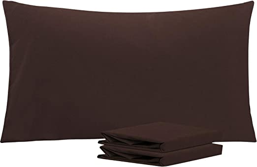 NTBAY Microfiber Plain Pillowcases, 2 Pack Soft Anti Wrinkle and Stain Resistant Envelope Closure Pillow Cases, 50x90 cm, Chocolate