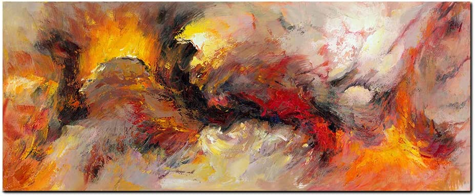 Amazon Com Abstract Canvas Wall Art Orange White Smoke Texture Abstract Painting Canvas Print Gallery Decorative Home Decor Aurora Poster Wall Art Framed Easy To Hang Multi 20 40inch Posters Prints