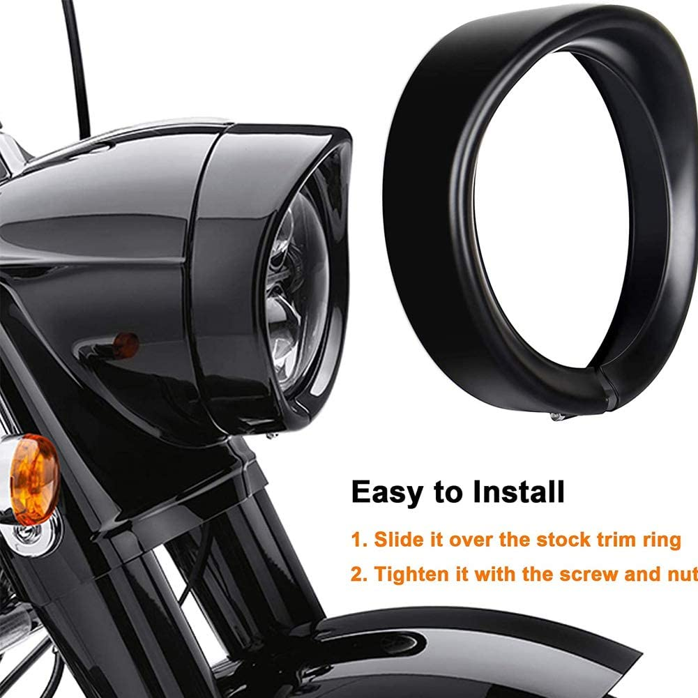 Anillo de Ajuste de Faro Negro Luces Anillo de Ajuste de Faro de 7 Pulgadas para Motocicleta modificaci/ón de Motocicleta KIMISS Apto para Piezas de Triciclo FLD LHR FL Visera Bisel