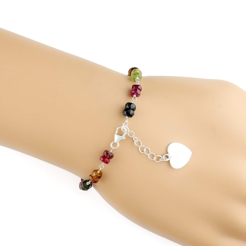 Men/'s Women Adjustable Bracelet Natural Multi-color Tourmaline 925 Sterling Silver Beads Clasp Link DiyNotion BR1216