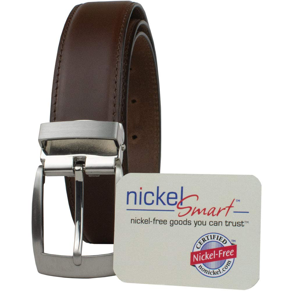 Dress Belt Nickel Smart Trimmable Leather Belt with Nickel Free Buckle