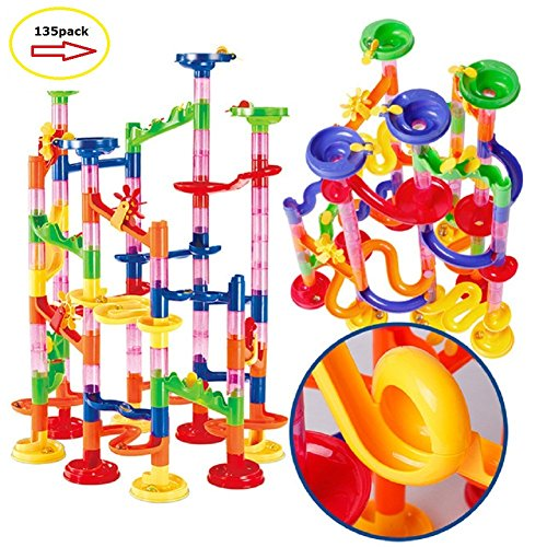 Marble Run Maze Ball Game Marble Maze STEM Educational Toys for Kids Set Marble Run Race Coaster Set, Marble Run Railway Toys [ 135 Pieces ] Construction Toys Building Blocks Set Marble Run Race by Laifaer