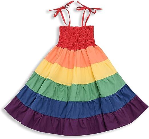 Toddler Infant Baby Girls Rainbow Dress Ruffle Backless Casual Summer Sundress