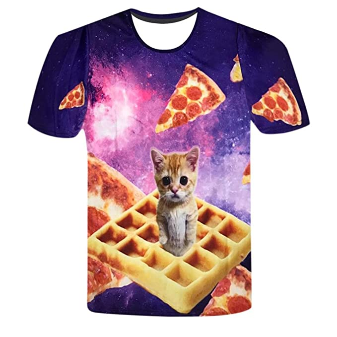 WINWINTOM 2018 Moda Estilo de Verano Camisetas, Verano Diario Camisas De Hombre, Gracioso Hombres 3D Gato Impresión Manga Corta Kitty Cookies Camisetas Tops ...