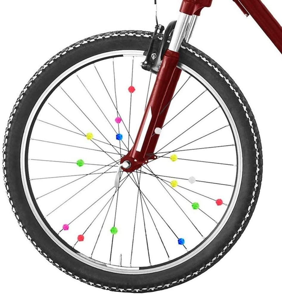 Round Bike Bicycle Wheel Spoke Beads Luminous Plastic Clip Wire Decor D