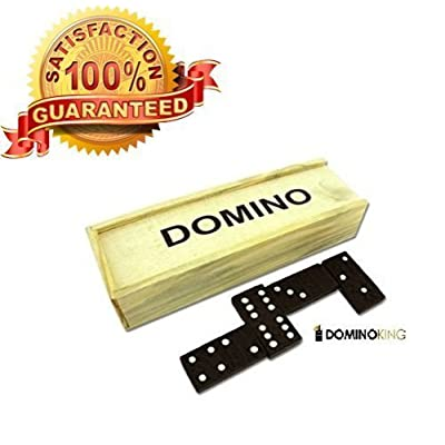 Best Selling Dominos Set Premium 28 Pcs Double Six Dominoes Wood Case Professional Tournament Style: Toys & Games