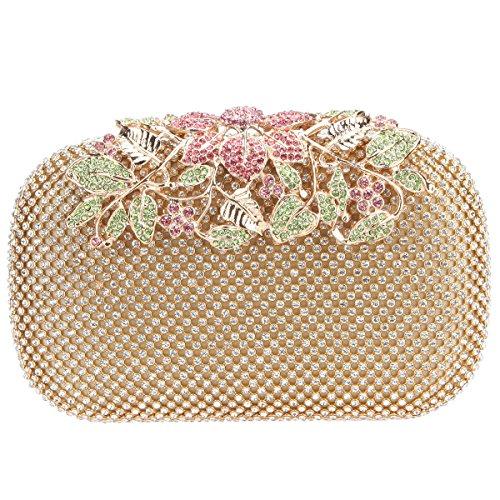 (Fawziya Flower Purses With Rhinestones Crystal Evening Clutch Bags-Multicolor)