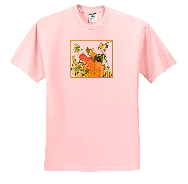 T-Shirts 3dRose Beverly Turner Autumn Design Pumpkin and Squash Arrangement Flowers