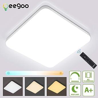 Oeegoo 36W Regulable LED de Luz de Techo Cuadrado, IP54 ...