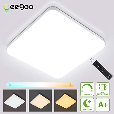 Oeegoo 36W Regulable LED de Luz de Techo Cuadrado, IP54 Impermeable Plafón, Lámpara de Techo LED de 3600 Lúmenes RA>80 (Cambio de temperatura de color ...