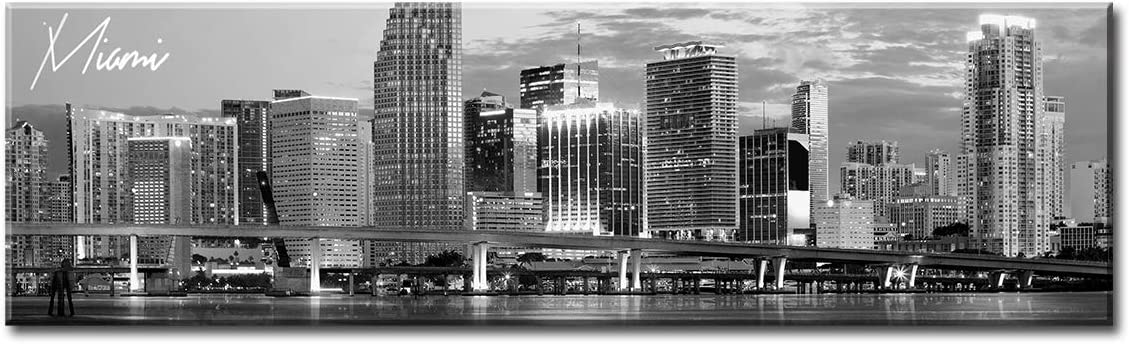 """DJSYLIFE Miami Skyline Wall Art Decor Panoramic Cityscape Picture Canvas Prints for Bedroom Office Living Room Decoration Stretched and Framed Ready to Hang 13.8""""x47.3"""""""