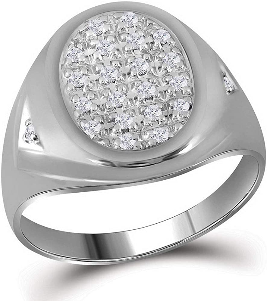Solid 10k White Gold Men's Round Diamond Oval Cluster Engagement Wedding Anniversary Ring Band 1/4 Ct.