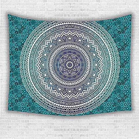 Supersoft Fleece Throw Blanket Navy and Teal Ombre Mandala Old Indian Art with Mehndi Style Effects Kitsch Boho Print Dark Blue - Old Shifters